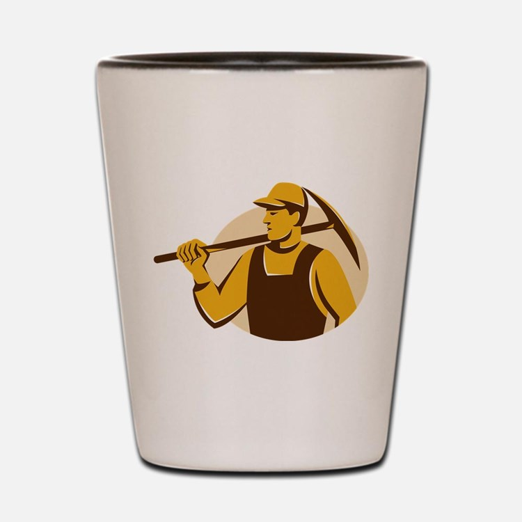 miner worker with pick ax retro Shot Glass