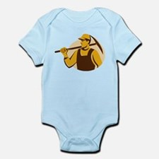 miner worker with pick ax retro Infant Bodysuit