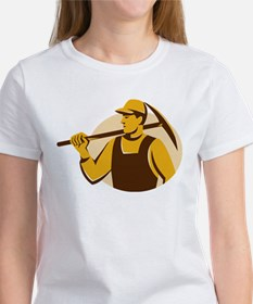 miner worker with pick ax retro Women's T-Shirt