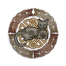 Celtic Cat Ornament (Round)