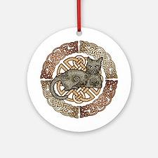 Celtic Cat Ornament (Round)