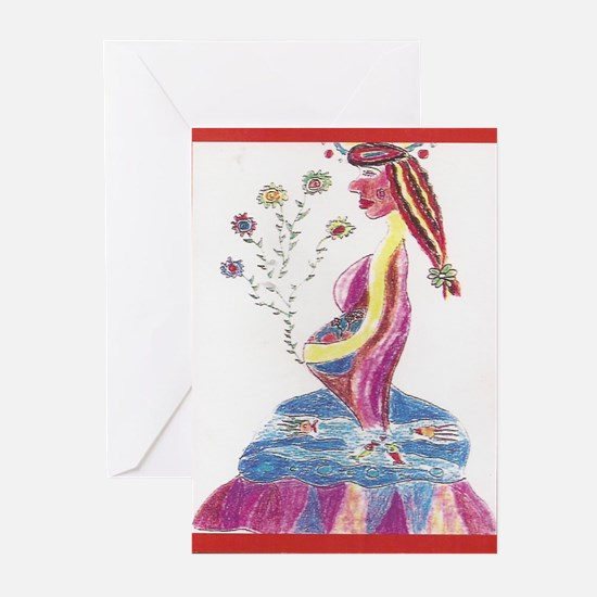 Pregnant Mermaid Greeting Cards (Pk of 20)