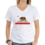 California bear flag Womens V-Neck T-shirts