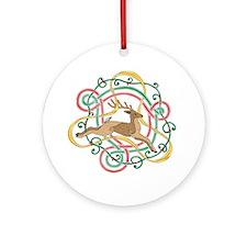 Celtic Reindeer Knots Ornament (Round)