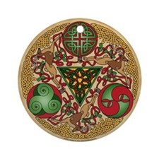 Celtic Reindeer Shield Ornament (Round)