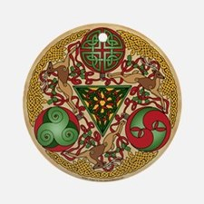 Celtic Reindeer Shield Ornament (Round)