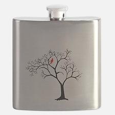 Cardinal in Snowy Tree Flask