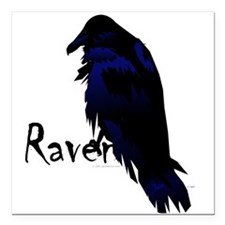 "Raven on Raven Square Car Magnet 3"" x 3"""