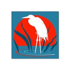 "White Crane Square Sticker 3"" x 3"""