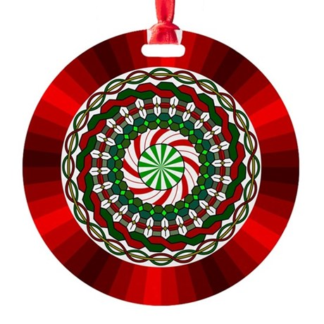 Colors of Christmas Round Ornament