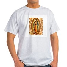 Guadalupe with Roses Ash Grey T-Shirt