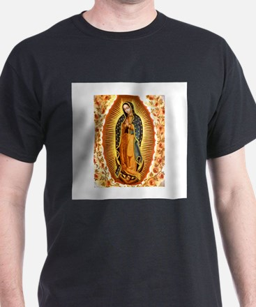 Guadalupe with Roses Black T-Shirt