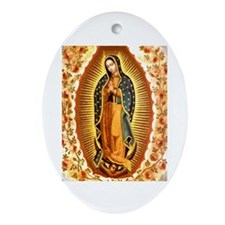 Guadalupe with Roses Oval Ornament