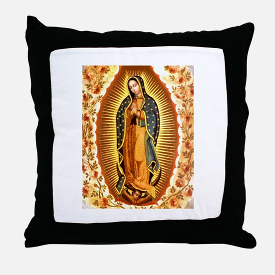Guadalupe with Roses Throw Pillow