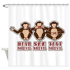 Text No Evil Shower Curtain