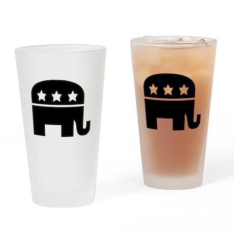 Republican Elephant Black Drinking Glass
