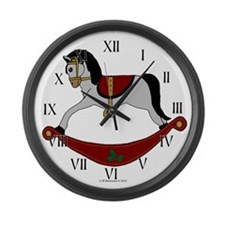 Grey and Red Rocking Horse Large Wall Clock