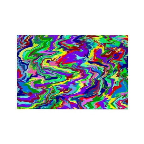 Psychedelic Tie Dye Rectangle Magnet