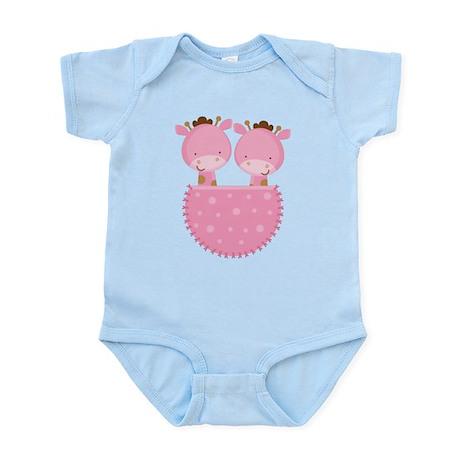 Twin Girl Giraffe Infant Bodysuit