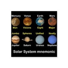 "Solar_System_NEWmonic.jpg Square Sticker 3"" x 3"""