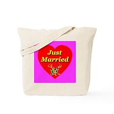 Just Married Two Crossed Rose Tote Bag