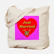 Just Married Two Crossed Rose Tote Bag