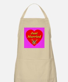 Just Married Two Crossed Rose BBQ Apron
