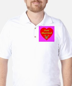 Just Married Two Crossed Rose Golf Shirt