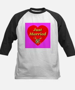 Just Married Two Crossed Rose Kids Baseball Jersey