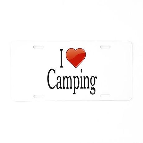 I Love Camping Aluminum License Plate