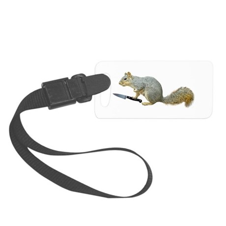 Squirrel with Knife Small Luggage Tag