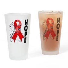 Hope Flower Ribbon AIDS Drinking Glass