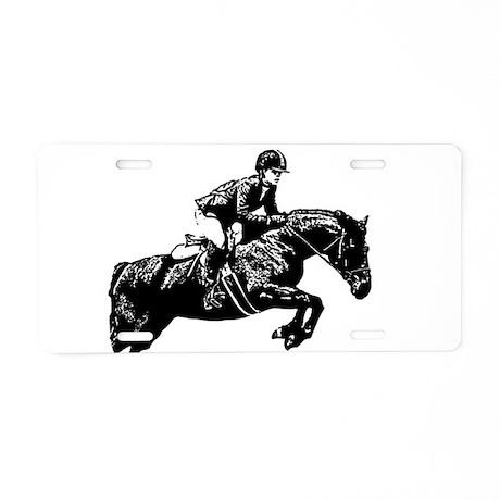 AFTM BW Jumping Horse2.jpg Aluminum License Plate