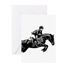 AFTM BW Jumping Horse2.jpg Greeting Card