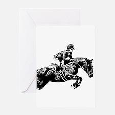 AFTM BW Jumping Horse2.jpg Greeting Card
