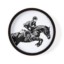 AFTM BW Jumping Horse2.jpg Wall Clock