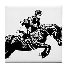 AFTM BW Jumping Horse2.jpg Tile Coaster