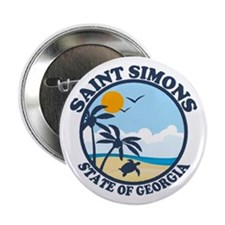 "St. Simons Island - Beach Design. 2.25"" Button"