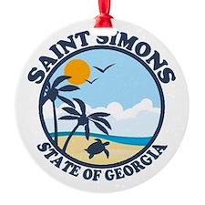 St. Simons Island - Beach Design. Round Ornament