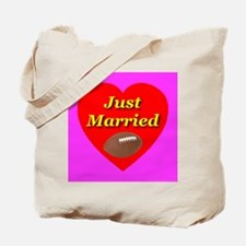 Just Married Football Theme Tote Bag