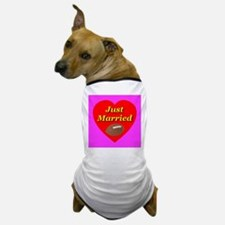 Just Married Football Theme Dog T-Shirt