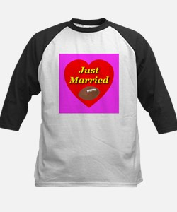 Just Married Football Theme Kids Baseball Jersey