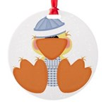baby boy spring ducky.png Round Ornament