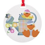 baby ducks and watering can.png Round Ornament