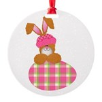 bunny with plaid egg.png Round Ornament