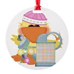 garden time baby girl duck.png Round Ornament