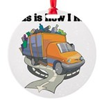 3-garbage truck.png Round Ornament