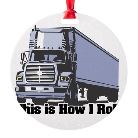 tractor trailer.png Round Ornament
