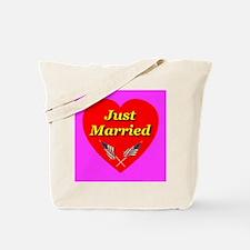Just Married Patriotic USA Fl Tote Bag
