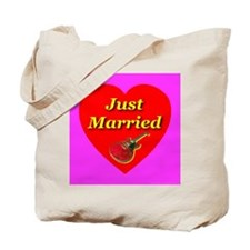Just Married Electric Guitar Tote Bag